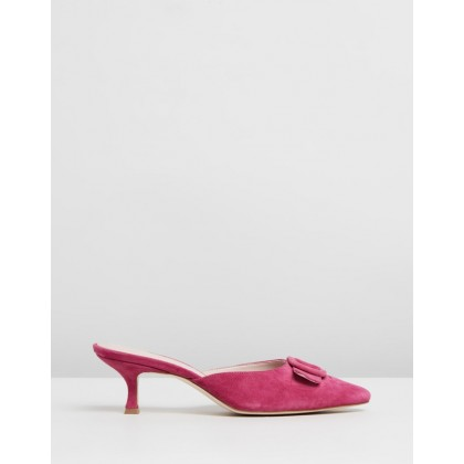 Ophelia Leather Heels Fuchsia Pink Suede by Atmos&Here