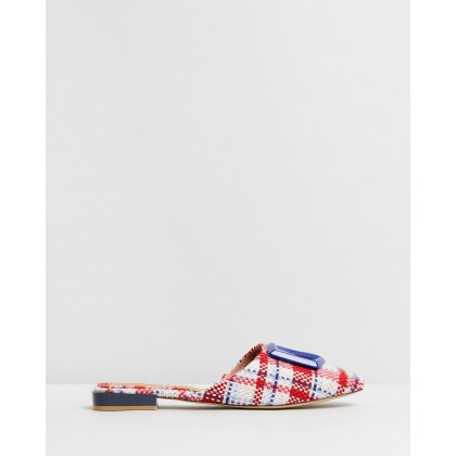 Ornament Check Flats White Multi by Jaggar The Label