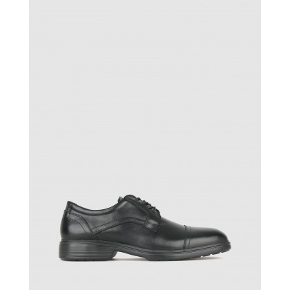 Oscar Leather Derby Dress Shoes Black by Airflex
