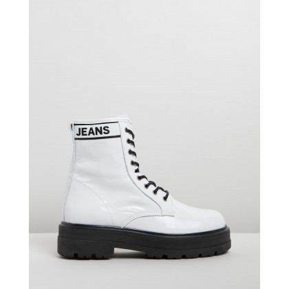 Patent Leather Flatform Boots White by Tommy Hilfiger