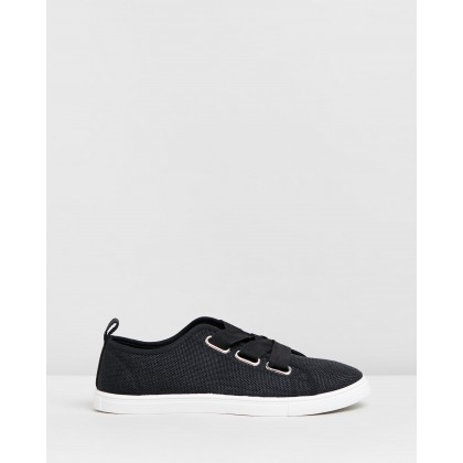 Penelope Lace-Up Plimsolls Black Woven Textile by Rubi