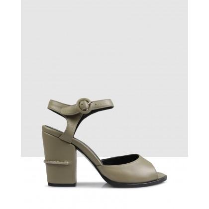 Pepita Block Sandals Olive by Sempre Di