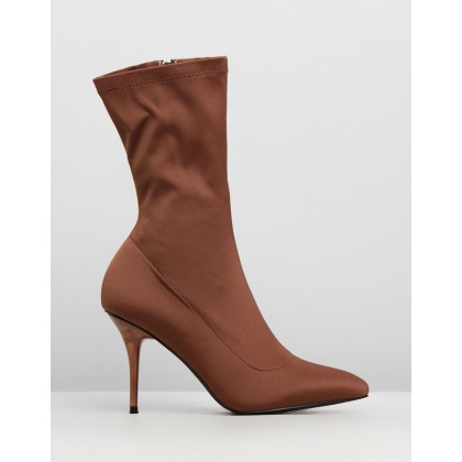 Perspex Heel Sock Boots Mocha by Missguided