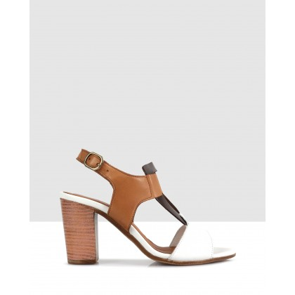 Petra Heeled Sandals White/tan by S By Sempre Di