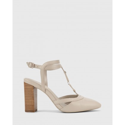 Petrona Leather Block Heel Ankle Strap Pumps Grey by Wittner