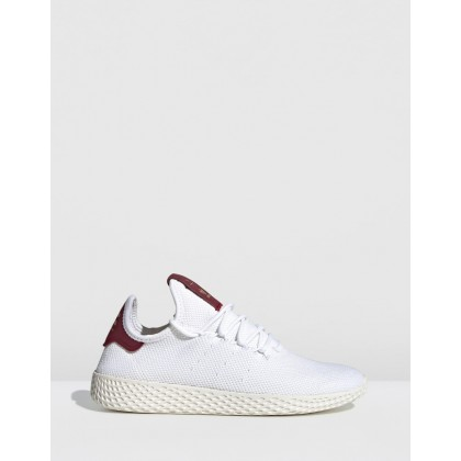 Pharrell Williams Tennis Hu Shoes - Women's Feather White & Collegiate Burgundy by Adidas Originals