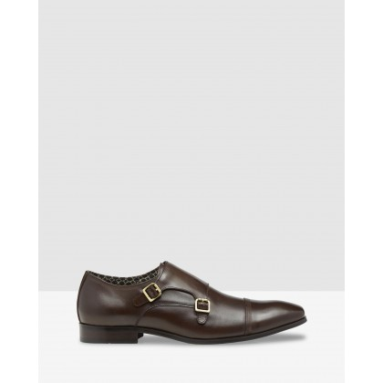 Phillips Leather Monk Shoes Mocha by Oxford