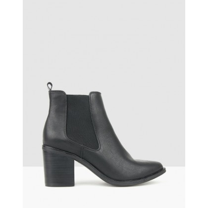 Pia Block Heel Ankle Boots Black by Betts