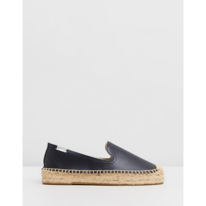 Platform Smoking Slippers Black Leather by Soludos