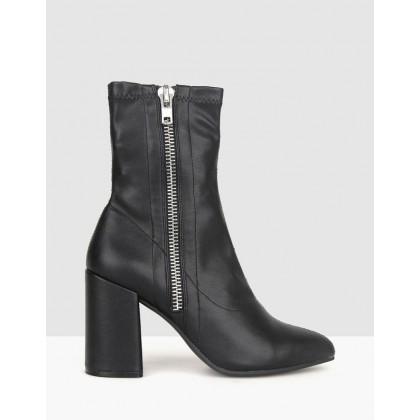 Playful Block Heel Boots Black by Betts