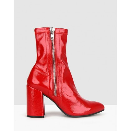 Playful Block Heel Boots Red Patent by Betts