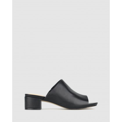 Playground Leather Block Heel Mules Black by Airflex