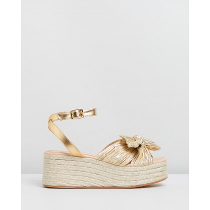 Pleated Knot Flatform Espadrilles Gold by Loeffler Randall