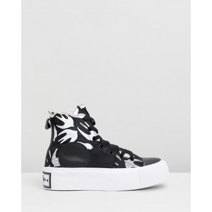 Plimsoll Platform Hi Sneakers Black & White by Mcq By Alexander Mcqueen