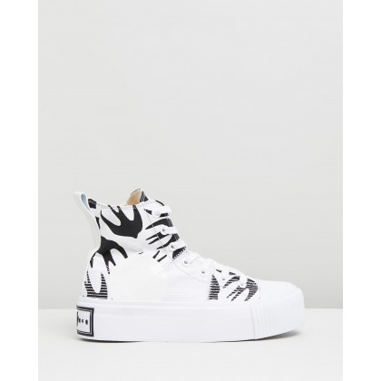 Plimsoll Platform Hi Sneakers White & Black by Mcq By Alexander Mcqueen