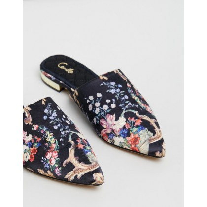 Point Toe Flat Mules Friend In Flora by Camilla