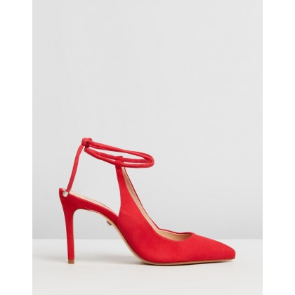 Pointed Ankle Strap Heels Red by Schutz