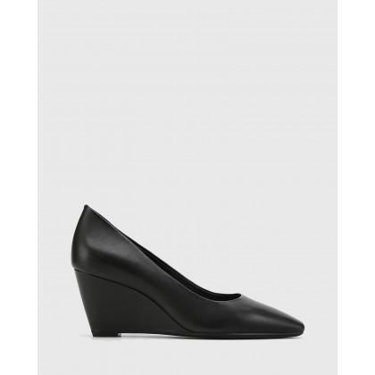 Pollie Leather Snib Toe Wedge Heels Black by Wittner