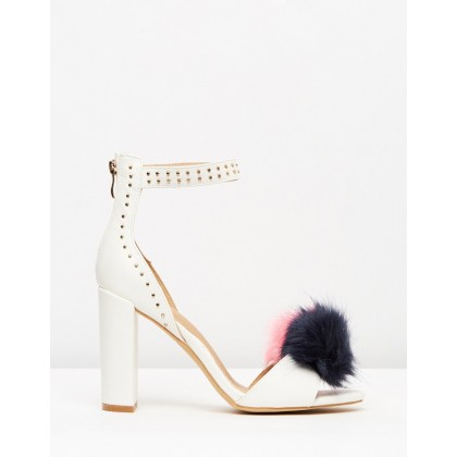 Pom Pom Block Heel Sandals White by Missguided