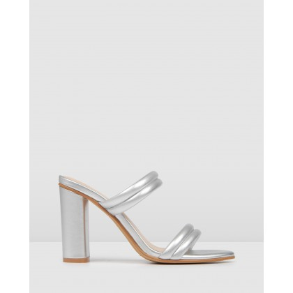 Pomona High Sandals Silver Leather by Jo Mercer