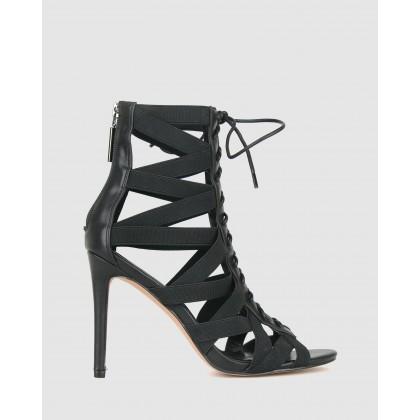 Poppy Elastic Lace Up Stilettos Black by Zu