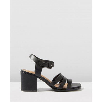 Poppy Triple Strap Block Heels Black Smooth by Rubi