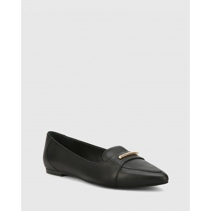 Porsha Nappa Leather Pointed Toe Flats Black by Wittner