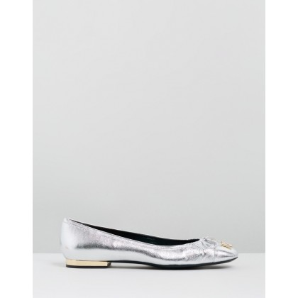 Pretty Bow Ballet Flats Silver by Mulberry