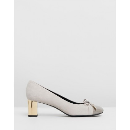 Pretty Bow Low Block Heels Grey by Mulberry