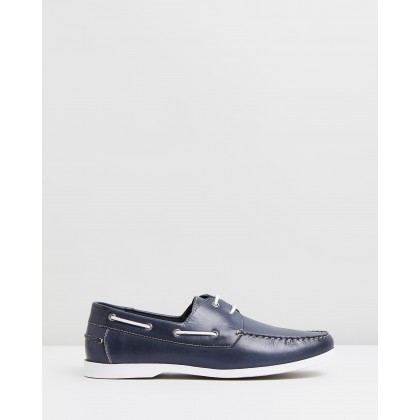 Puerto Leather Deck Shoes Navy by Staple Superior
