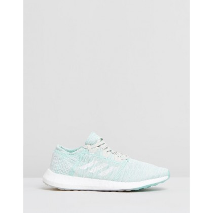 PureBOOST GO - Women's Clear Mint, Footwear White & Raw White by Adidas Performance