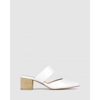 Quill Block Heel Mules White by Zu