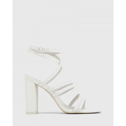Radical Leather Block Heeled Strappy Sandals White by Wittner