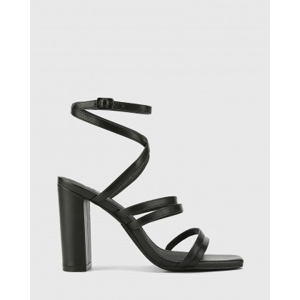 Radical Leather Block Heeled Strappy Sandals Black by Wittner