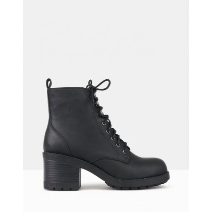 Ranking Block Heel Combat Boots Black by Betts