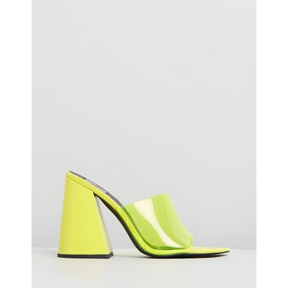 Raye Mules Neon Yellow by Dazie