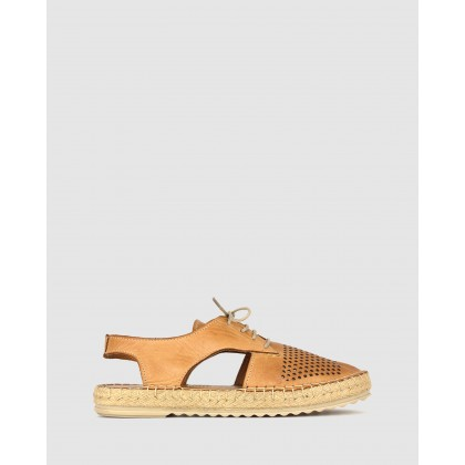 Raysh Laser Cut Lace Up Espadrille Tan by Airflex