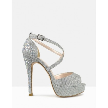 Razzle Embellished Platform Pumps Silver by Betts