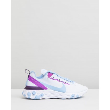 React Element 55 - Women's Football Grey, Psychic Blue & Hyper Violet by Nike