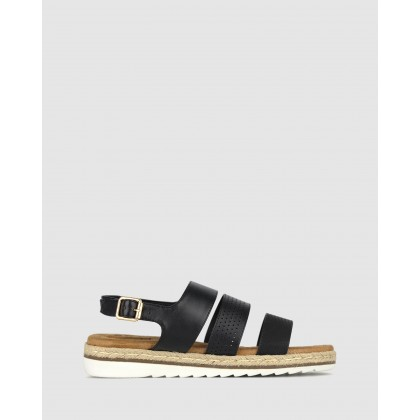 Rebel Wedge Sandals Black by Betts