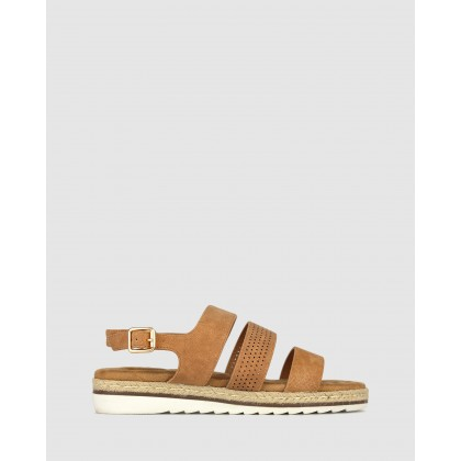 Rebel Wedge Sandals Tan by Betts