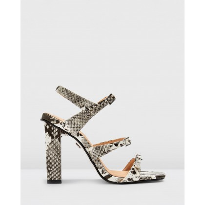 Reptile Strappy Sandals Monochrome by Topshop