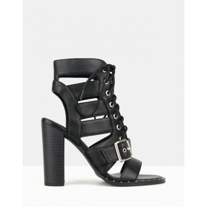 Respect Lace Up Block Heels Black by Betts