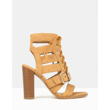 Respect Lace Up Block Heels Tan by Betts
