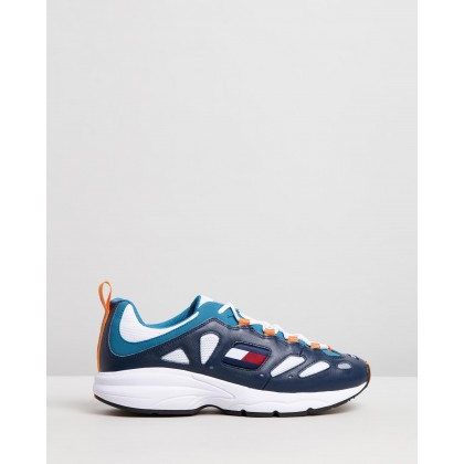Retro Sneakers - Men's Ink, White, Saxony Blue & Russet Orange by Tommy Jeans
