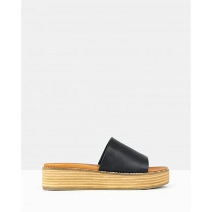 Revolve Slip On Wedge Sandals Black by Betts