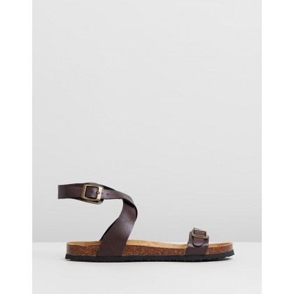 Rex Ankle Strap Sandals Choc PU by Rubi