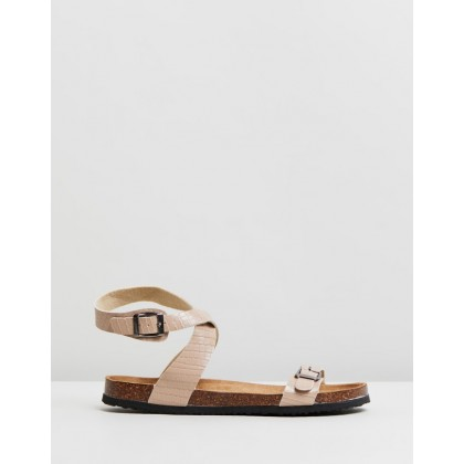 Rex Ankle Strap Sandals Taupe PU by Rubi