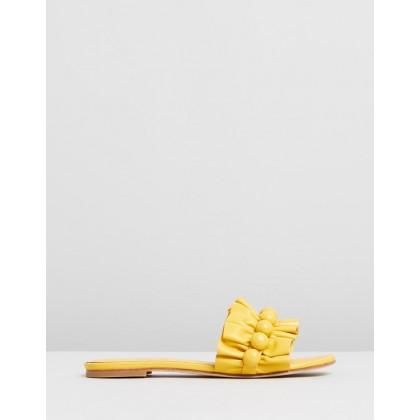 Rey Leather Fringe Slides Yellow by Mara & Mine