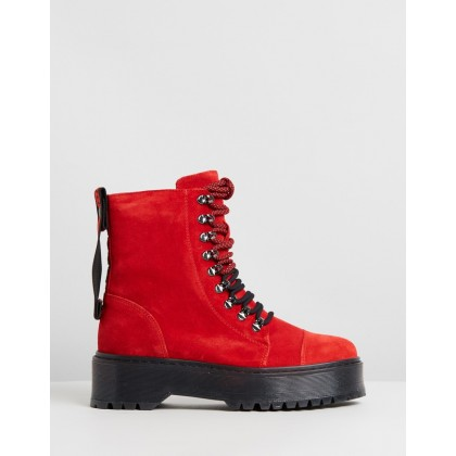 Rifka Super Chunky Leather Ankle Boots Red by Bronx